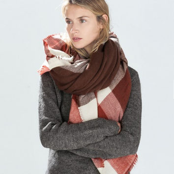 Winter Plaid Cashmere Patchwork Scarf [9572850575]