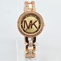 MK Fashion Bracelet Watch Ladies Watch Stylish Pottery Quartz Rhinestone Korean