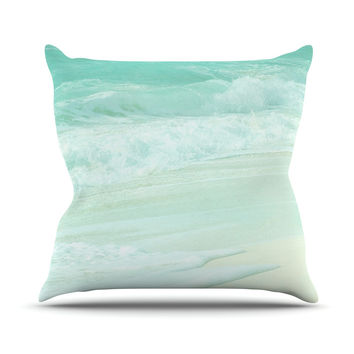 "Monika Strigel ""Paradise Beach Mint"" Teal Green Throw Pillow"