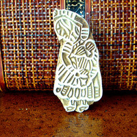 Hand Carved Wood Stamp: Indian Woman Textile Stamp, Wooden India Ceramic Tile Pottery Stamp, Wall Hanging, Plaque