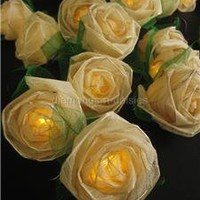 WHITE Large Rose Flower Natural Leaf Skeleton LED String Fairy Lights  - Wedding
