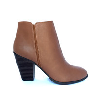 Sophistication Vegan Leather Ankle Booties In Cognac