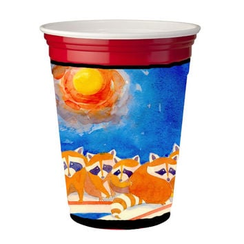 Raccoons on the porch  Red Solo Cup Beverage Insulator Hugger