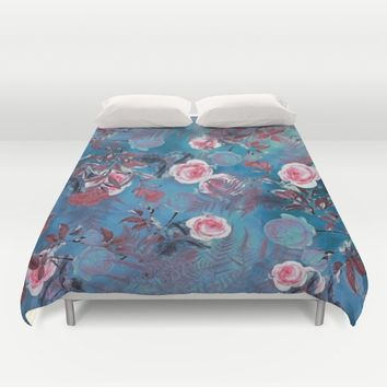 flowers blue Duvet Cover by jbjart