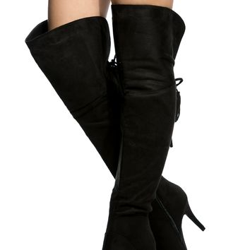 Black Faux Suede Fringe Chunky Thigh High Boots @ Cicihot Boots Catalog:women's winter boots,leather thigh high boots,black platform knee high boots,over the knee boots,Go Go boots,cowgirl boots,gladiator boots,womens dress boots,skirt boots.
