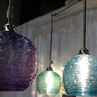Large Hanging Art Spun Glass Sphere Pendant Light by Rebecca Zhukov