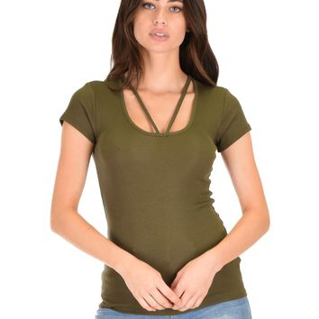 Lyss Loo V-Neck Strappy Olive Ribbed Top
