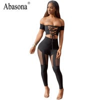 Abasona Summer off the shoulder sexy bodycon jumpsuit Overalls short sleeve hollow out  lace up Jumpsuit women romper club party