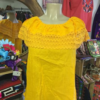 Mexican Campesina Top Yellow Off-Shoulder