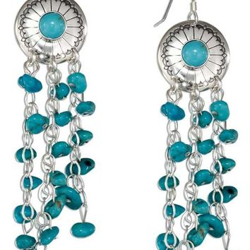 Sterling Silver Simulated Turquoise Concho Earrings With Nugget Dangles