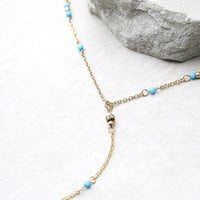 Meditation Gold and Turquoise Drop Necklace