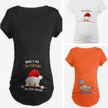 New Fashion Pregnant Maternity Casual T-Shirts Pregnancy Loose Fitting Clothes Christmas Gift [8833389452]