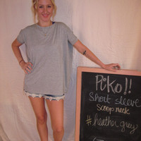 Heather Grey Short Sleeve Scoop Neck Piko Shirt On Sale | Overstock Boutiques