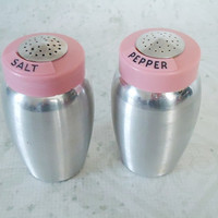 1950s Pink Kromex Spun Aluminum Salt and Pepper Shakers - Vintage Pink Kromex