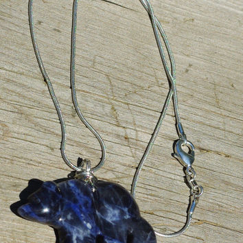 Blue Sodalite Bear Necklace ~  Polar Bear Necklace ~ Stone Necklace ~ Bear Jewellery ~ Animal Lover ~ Birthday Gift ~ Anniversary ~ Nature