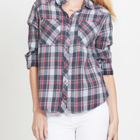 LE3NO Womens Plaid Button Down Flannel Shirt with Roll Up Sleeves (CLEARANCE)