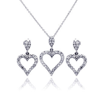 .925 Sterling Silver Rhodium Plated Open Heart Cubic Zirconia Dangling Earring & Necklace Set