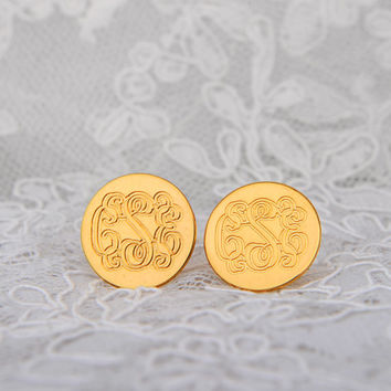 18K Yellow Gold Plated Monogram Earrings