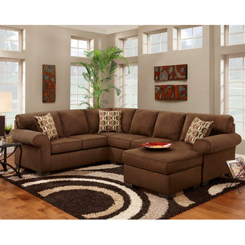 Flash Furniture Exceptional Designs Patriot Chocolate Microfiber U-Shaped Sectional