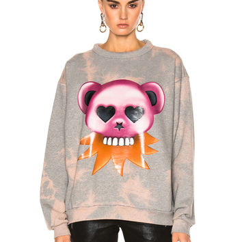 Acne Studios Fint Bear Sweater in Zinc Gray Melange Bleach | FWRD