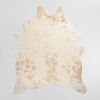 "5'x6'7"" Gold Printed Faux Cowhide Area Rug"