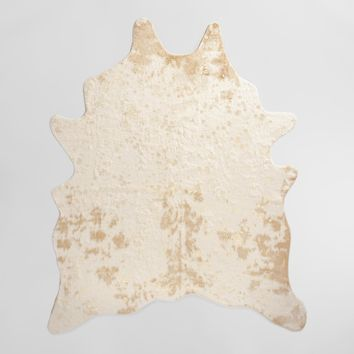 """5'x6'7"""" Gold Printed Faux Cowhide Area Rug"""