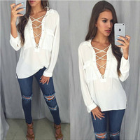 White V-Neck Lace Up Chiffon Shirt