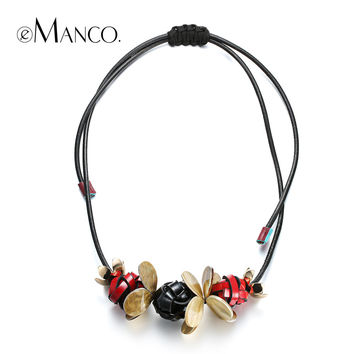 //Black necklace leather cord handmade knit necklace// small pendant necklace resin jewelry costume Jewelry necklace eManco