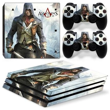 Assassins Creed Skin Sticker For Sony Playstation 4 Pro Game Console Decal Skin + 2PCS Controller Skins Decals For PS4 Pro