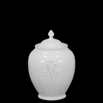 Elegant & Stunning Ceramic Canister Etched W/ The Alphabet M In White