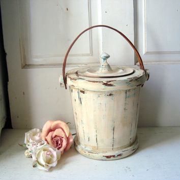 Shabby Chic Vintage Ice Bucket Cream Distressed Wooden French Farmhouse I