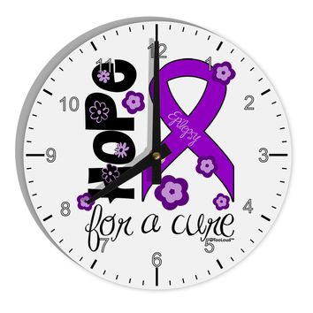 "Hope for a Cure - Purple Ribbon Epilepsy - Flowers 8"" Round Wall Clock with Numbers"