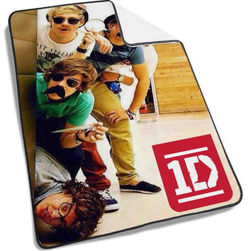 funny one direction Mustache Blanket