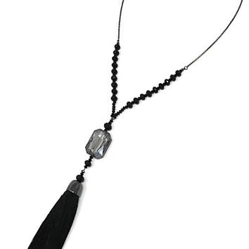 Lariat Tassel Pendant Necklace Set