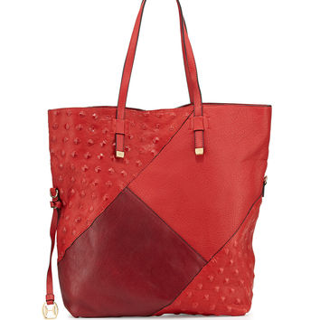 Colorblock Leather Tote Bag, Chili - Halston Heritage