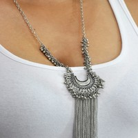 Bohemian Crescent Moon Tassel Necklace Silver