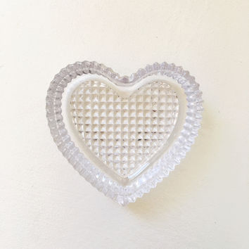 Etched Glass Heart Dish