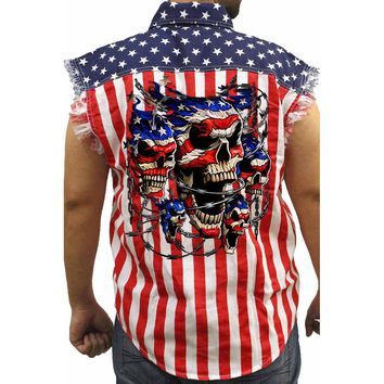 Men's USA Flag Sleeveless Denim Shirt Patriotic Skulls with Chains Biker