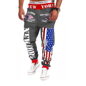 Top Design 2018 Personality Casual Pants Mens Joggers American Flag Star Print Trousers Overalls Sweatpants Hip Hop Harem Pants