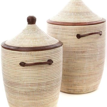 Set of Two White Hampers with Dark Brown Leather Handles