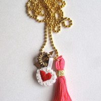 Charm necklace embroidered red heart, arrow charm and pink tassel on long gold tone ball chain Valentines day gift bestie