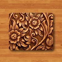 Flower Wood Rose Relief Carved Floral Mouse Pad Vintage Beauty Printed Rubber MousePad Girl Desk Deco Work Pad Mat Rectangle Personal Gift