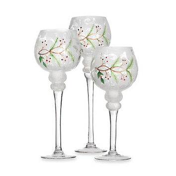 Holiday Manor Frosted Glass Hurricane Candle Holders (Set of 3)