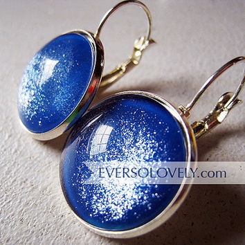 dark navy metallic blue and silver earrings by EverSoLovely