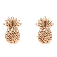 SOLID 14K ROSE GOLD HAWAIIAN PINEAPPLE STUD POST EARRINGS SMALL 7MM