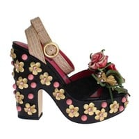 Dolce & Gabbana Black Leather Floral Crystal Platform Shoes