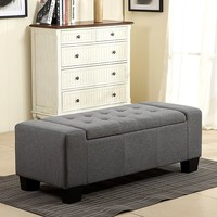 "Belleze 51"" Rectangular Fabric Tufted Storage Ottoman Bench, Large, Slate Grey"