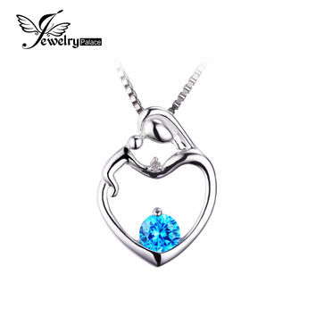 Mother Child Heart  Love100% Natural Blue Topaz Pendant Gemstone Fine Jewelry 925 Sterling Silver Charm Gift For Women