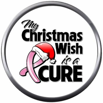 Santa Hat Christmas Wish Cure Pink Ribbon Breast Cancer Support Awareness Holiday Winter 18MM - 20MM Snap Jewelry Charm New Item