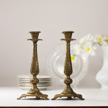 10'' Shabbat Candle Holders, Vintage Brass Shabbat Candlesticks, Judaica Candle Holders, Pair of Metal Candle Holders Tamar Jerusalem Israel